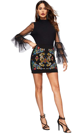 Embroidered Bodycon Short Mini Skirt